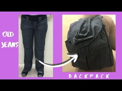 Upcycle Old Jeans into Backpack   How to make school bag   Easy DIY