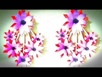Wall hang craft ideas.simple and beautiful paper flower wall hanging by Crafting Happiness#56