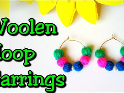 Woolen hoop earrings | Hoop earrings | Earrings making tutorial at home