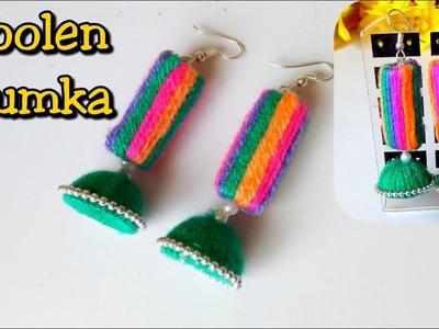 Woolen Jhumka | Jhumka making tutorial at home | Handmade earrings