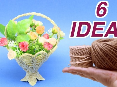 6 Awesome Ideas Flower Baskets from Jute Rope Art and Craft