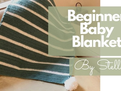 Crochet Beginner baby blanket . Collaboration video with Carolynn Markey  | By Stella
