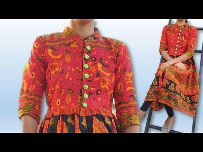 DIY  beautiful cotton traditional printed kurti with front slit  cutting stitching full tutorial