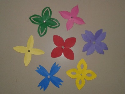 DIY craft | Easy flower cutting | 4 - petal paper flowers | different types of flower cuttings