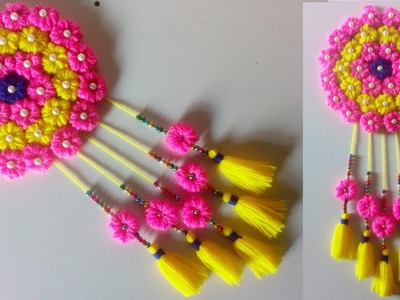 DIY easy woolen flower wall hanging!! Toran making ideas!! woolen craft ! Room decor