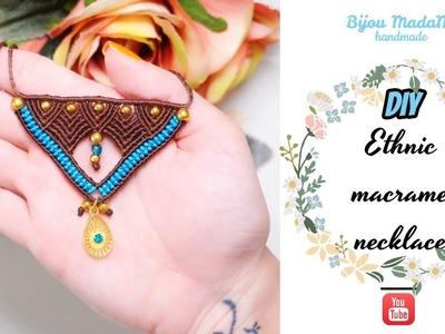 DIY ethnic macrame necklace | Macrame necklace tutorial | DIY macrame jewelry