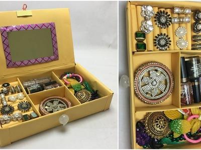 DIY Fine Jewelry drawer Organizer Box Making at home with cardboard | Jewelry organizer ideas