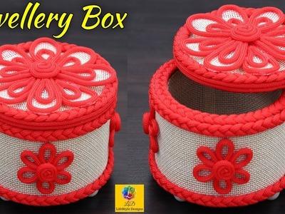 DIY Jewellery Box made from Cardboard and Burlap Jute | Jute Rope Craft Idea | DIY Jute Storage Box
