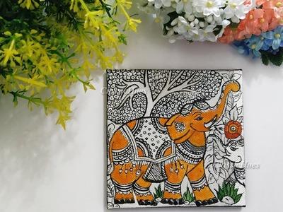 DIY Kalamkari Painting || Acylics on Canvas || Indian Folk Art For Beginners