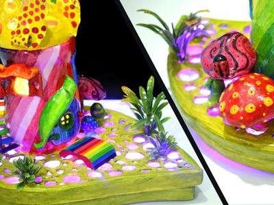 DIY Rainbow Fairy House Lamp using Jar and Plastic Bottle | DAS Paper Clay Tutorial