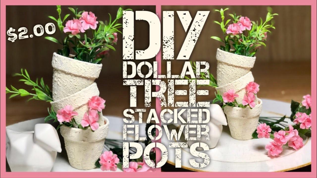 DIY Textured Stacked Flower Terracotta Pots - Dollar Tree Farmhouse, Shabby Chic Room or Porch Decor