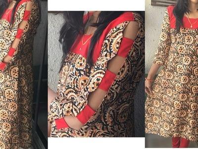 DIY Yoke kurti with Designer sleeve cutting and stitching