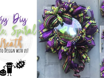 Easy DIY Ruffle curl spiral wreath with ribbons and bows