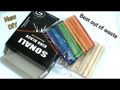 How To Reuse Waste Ice Cream Stick and Mosquito Coil Box craft idea DIY Popsicle stick | #RS crafts
