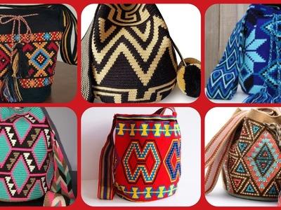 Latest stylish colourful crochet handbag in clutch