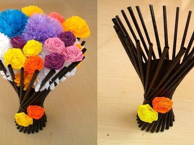 Making Paper Flower Vase Flower Vase Making Home Decor Craft Idea