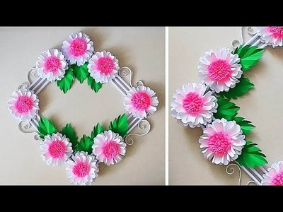 Paper Flower Wall Decoration- Easy Wall Decoration Ideas - Paper craft - DIY Wall Decor 176