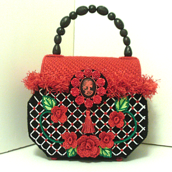 Red & Black Sugar Skull & Roses Trunk Style Handbag