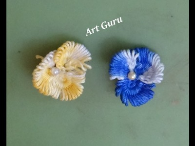 Simple and Easy woolen flower making craft