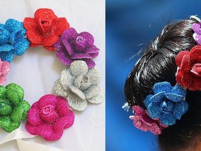 Tutorial for Multicolour foam flower veni. DIY