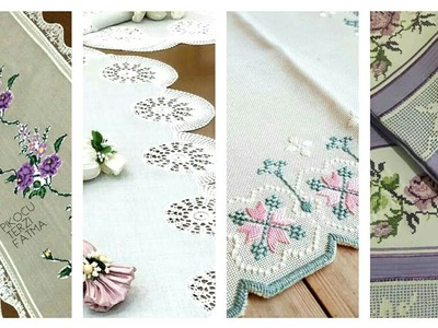 Beautiful Cross Stitches Pattern With Crochet Work Tables Cover And Bedsheets Design