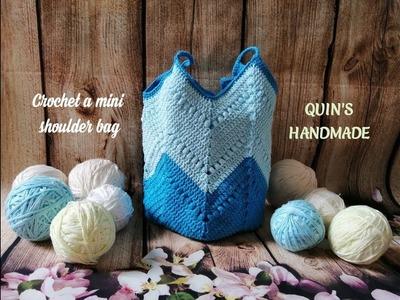 Crochet a mini shoulder bag part 2.2 - Móc túi đeo vai mini phần 2.2