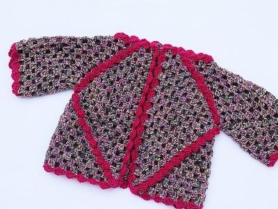 Crochet jacket with hexagons