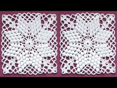 CROCHET  Motif Tutorial  How to crochet square motif PART 2, 6   7 round