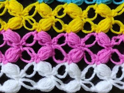Crochet Puff Lacy Stitch Tutorial