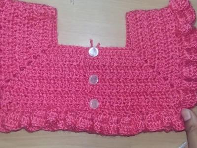 Crochet yoke (cardigan) for dress 1 to 2 yrs can use upto 3 yrs. beginners friendly.