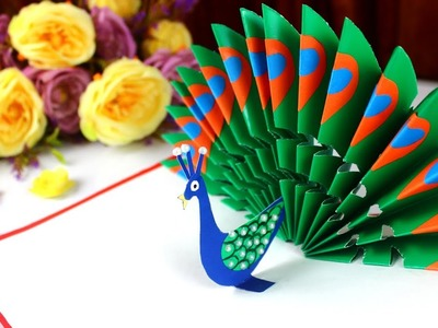 DIY - How to make Peacock Pop up card-Easy Blue and Green Peacock with Paper-Handmade Birthday Card!