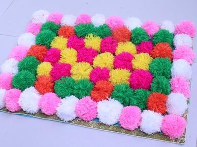 Easy Doormat Making At Home.How To Make Doormat Using Woolen and Shopping Bag.Pom Pom Doormat