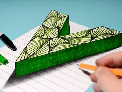 Easy Trick Art Drawing. How to Draw 3D Letter V. Anamorphic Illusion with Color Markers