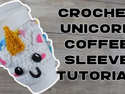 How to Crochet a Unicorn Coffee Sleeve or Cozy