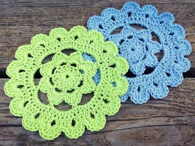 How To Crochet Easy Flower Coaster