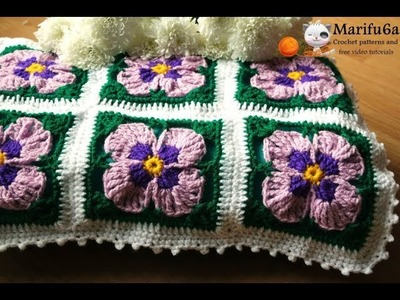 How to crochet easy violets flowers blanket afghan  pattern by marifu6a