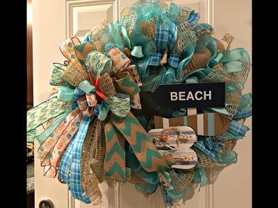 How to make a beach wreath poof with ruffles Jute mesh and fabric mesh