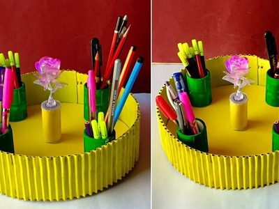 How to make a Pen Stand !! Best Out Of Waste !!  Do it yourself Desk organizer | Organization ideas