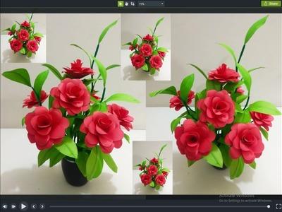 How To make Beautiful Paper Flower Bouquet ||New Design Paper  Guldasta Flower vase|| Rose Guldasta.