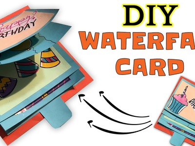 How to make DIY Waterfall Card | Easy | ScrapBook | Explosion Box | Aesthetic Pixels by Museera