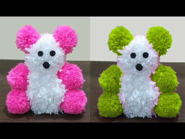 How to Make Easy Woolen Pom Pom Teddy Bear | Woolen Teddy Bear Making At Home | DIY Woolen Craft