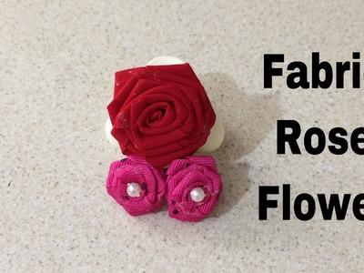 How to make fabric roses. easy rose making fabric and ribbon. সাধারন কাপড় দিয়ে ফুল তৈরীর পদ্ধতি