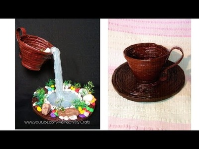 How to make Glue Gun Waterfall with Newspaper Cup