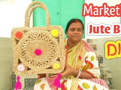 How to Make Handmade Ladies Marketing bag using Jute |  Jute Rope marketing bag | Jute diy craft
