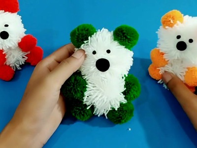 How To Make Pom Pom Teddy Bear With Wool | Woolen Teddy Bear Making At Home | DIY Woolen Craft