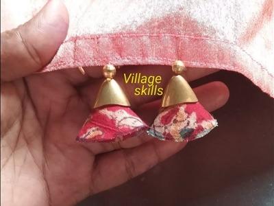 How to make Saree tassels.kuchu #49 ,DIY latest hand made fabric Saree pallu design. village skills