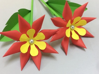 How to Make Simple Paper Flower - Making Paper Flowers Step by Step - DIY Paper Crafts
