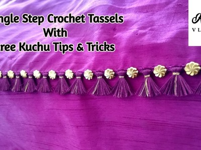 Single Step Crochet Saree Kuchu With Beads | Saree Kuchu TIPS & TRICKS Shared- www.knottythreadz.com