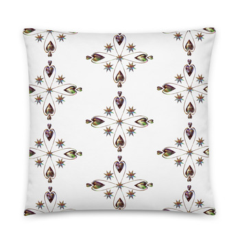 Throw Pillow - HELIUM HEARTS WHITE Cushion. Double sided fabric cover & Insert by Livz Design