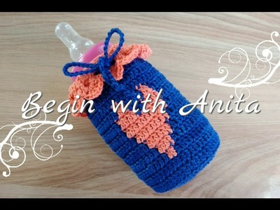 Tutorial 64- requested crochet video. milk bottle cover. bottle warmer